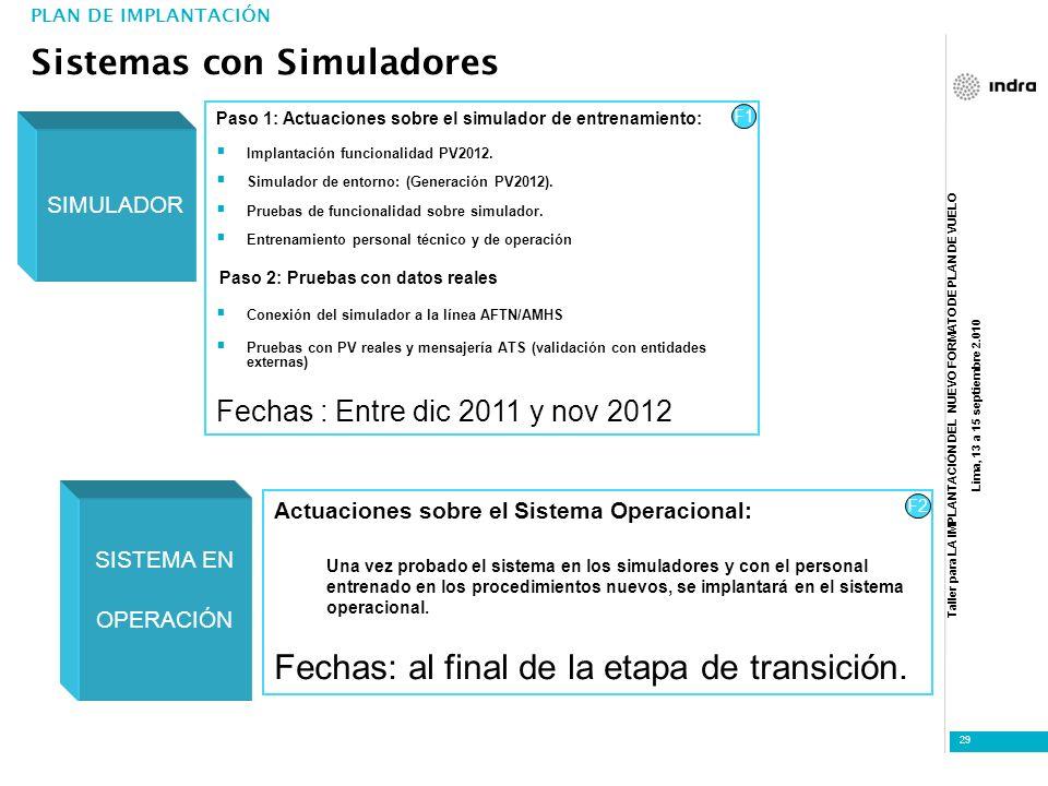 Taller para LA IMPLANTACIÓN DEL NUEVO FORMATO DE PLAN DE VUELO Lima, 13 a 15 septiembre 2.010 29 PLAN DE IMPLANTACIÓN Sistemas con Simuladores SIMULAD