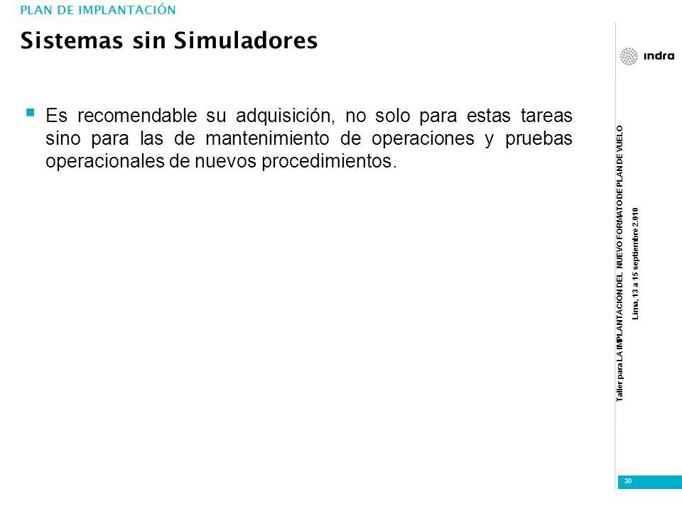 Taller para LA IMPLANTACIÓN DEL NUEVO FORMATO DE PLAN DE VUELO Lima, 13 a 15 septiembre 2.010 30 Es recomendable su adquisición, no solo para estas ta