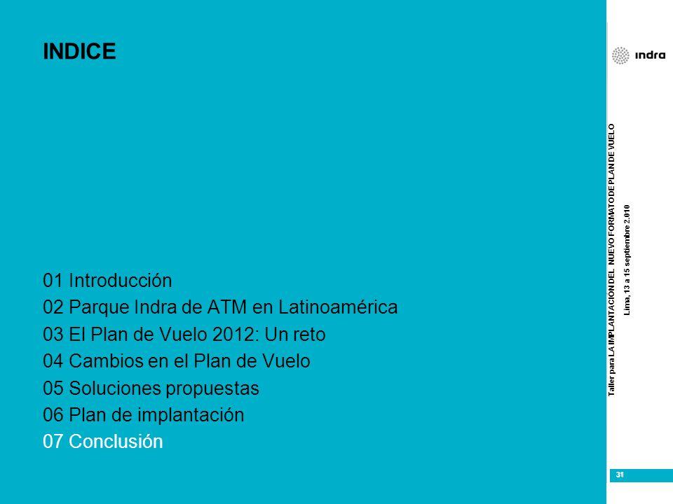 Taller para LA IMPLANTACIÓN DEL NUEVO FORMATO DE PLAN DE VUELO Lima, 13 a 15 septiembre 2.010 31 INDICE 01 Introducción 02 Parque Indra de ATM en Lati