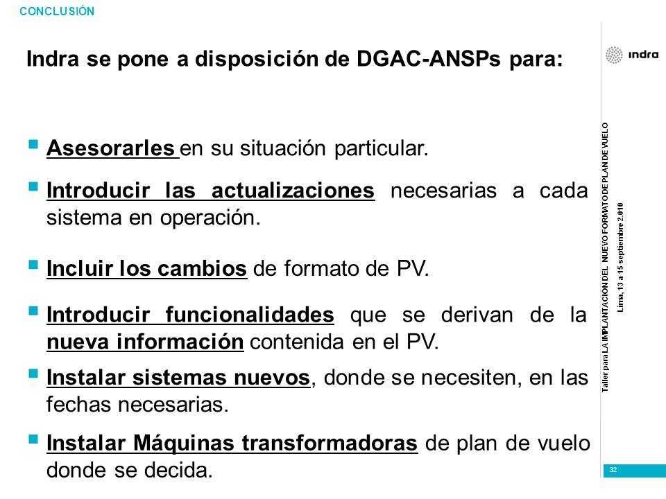 Taller para LA IMPLANTACIÓN DEL NUEVO FORMATO DE PLAN DE VUELO Lima, 13 a 15 septiembre 2.010 32 Indra se pone a disposición de DGAC-ANSPs para: CONCL