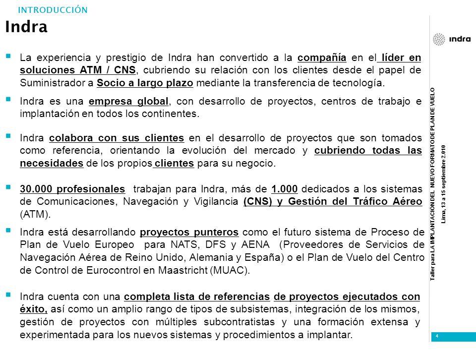 Taller para LA IMPLANTACIÓN DEL NUEVO FORMATO DE PLAN DE VUELO Lima, 13 a 15 septiembre 2.010 5 INDRA EN EL MUNDO: REFERENCIAS CNS/ATM INTRODUCCIÓN