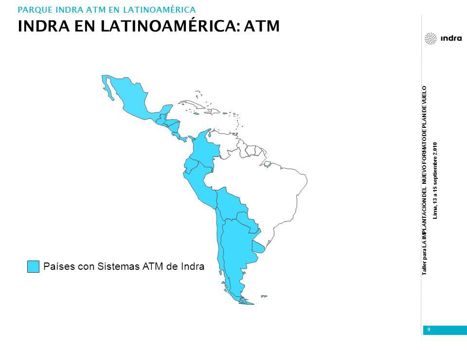 Taller para LA IMPLANTACIÓN DEL NUEVO FORMATO DE PLAN DE VUELO Lima, 13 a 15 septiembre 2.010 9 Países con Sistemas ATM de Indra INDRA EN LATINOAMÉRIC