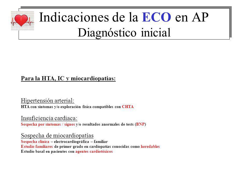 Indicaciones de la ECO en AP Diagnóstico inicial Para la HTA, IC y miocardiopatias: Hipertensión arterial: HTA con síntomas y/o exploración física com