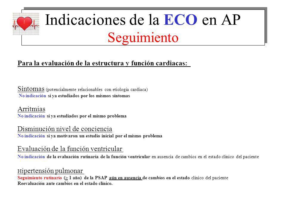 Indicaciones de la ECO en AP Seguimiento Para la evaluación de la estructura y función cardiacas: Síntomas (potencialmente relacionables con etiología