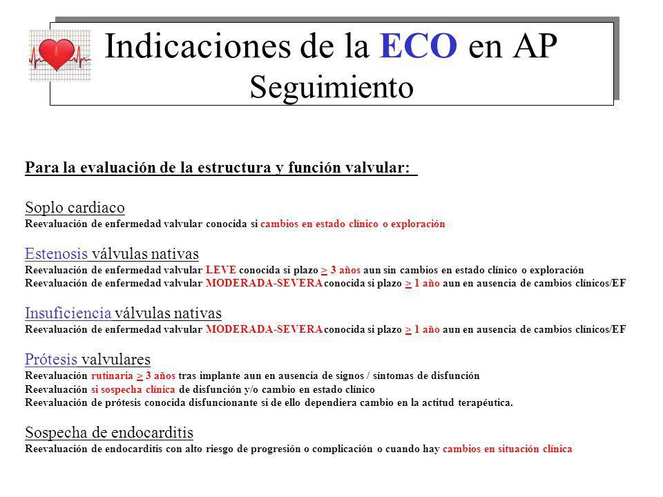 Indicaciones de la ECO en AP Seguimiento Para la evaluación de la estructura y función valvular: Soplo cardiaco Reevaluación de enfermedad valvular co