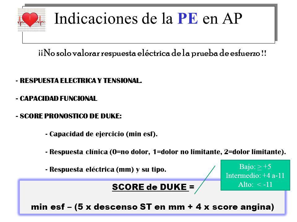¡ ¡ No solo valorar respuesta eléctrica de la prueba de esfuerzo !! - RESPUESTA ELECTRICA Y TENSIONAL. - CAPACIDAD FUNCIONAL - SCORE PRONOSTICO DE DUK