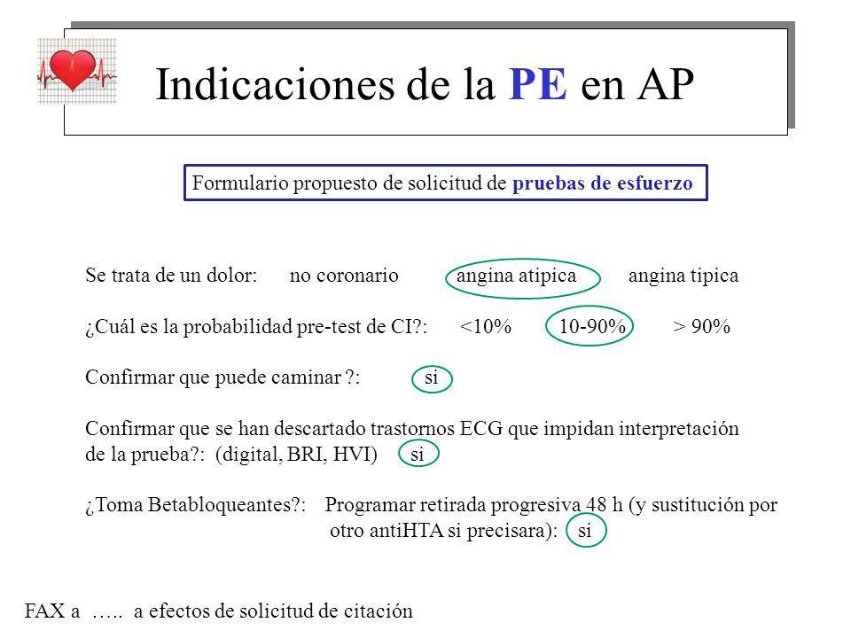 Indicaciones de la PE en AP Formulario propuesto de solicitud de pruebas de esfuerzo Se trata de un dolor: no coronario angina atipica angina tipica ¿