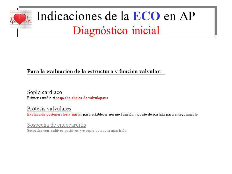 Indicaciones de la ECO en AP Diagnóstico inicial Para la evaluación de la estructura y función valvular: Soplo cardiaco Primer estudio si sospecha clí