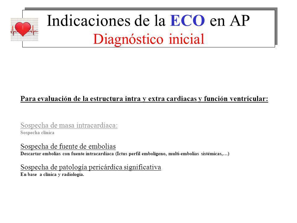 Indicaciones de la ECO en AP Diagnóstico inicial Para evaluación de la estructura intra y extra cardiacas y función ventricular: Sospecha de masa intr
