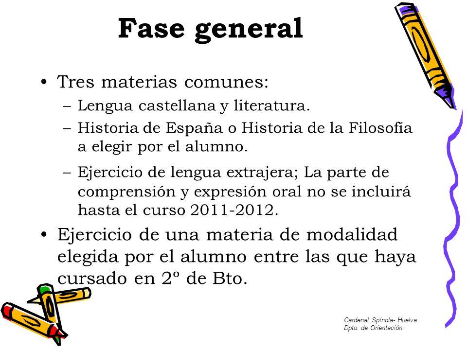 Fase general Tres materias comunes: –Lengua castellana y literatura. –Historia de España o Historia de la Filosofía a elegir por el alumno. –Ejercicio