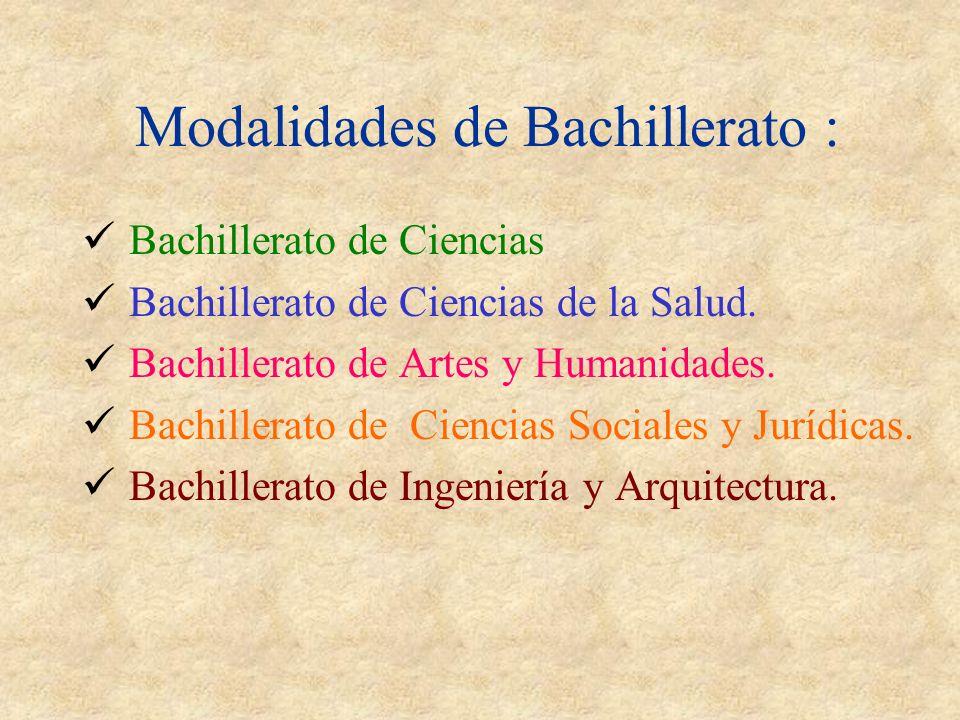 Modalidades de Bachillerato : Bachillerato de Ciencias Bachillerato de Ciencias de la Salud.