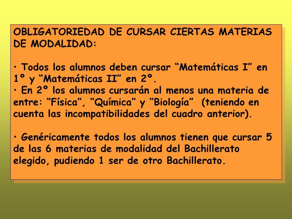OBLIGATORIEDAD DE CURSAR CIERTAS MATERIAS DE MODALIDAD: Todos los alumnos deben cursar Matemáticas I en 1º y Matemáticas II en 2º.