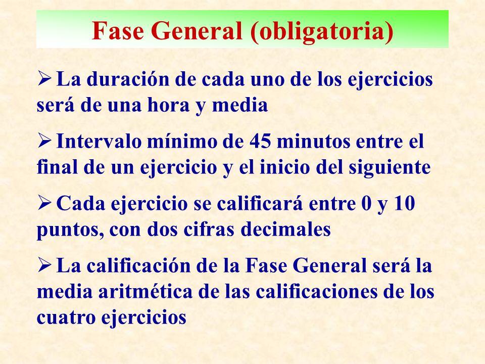 Fase General (obligatoria) L a duración de cada uno de los ejercicios será de una hora y media I ntervalo mínimo de 45 minutos entre el final de un ejercicio y el inicio del siguiente C ada ejercicio se calificará entre 0 y 10 puntos, con dos cifras decimales L a calificación de la Fase General será la media aritmética de las calificaciones de los cuatro ejercicios