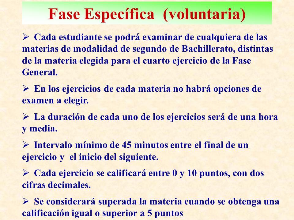 Fase Específica (voluntaria) C ada estudiante se podrá examinar de cualquiera de las materias de modalidad de segundo de Bachillerato, distintas de la materia elegida para el cuarto ejercicio de la Fase General.
