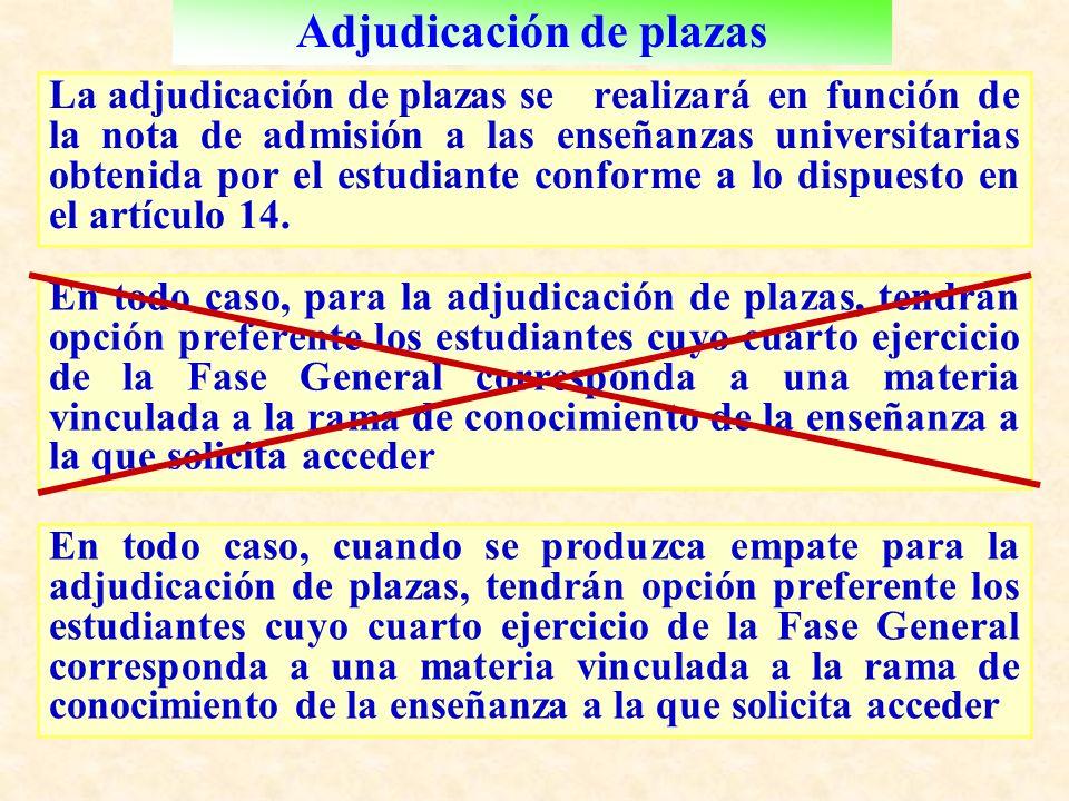 Adjudicación de plazas La adjudicación de plazas se realizará en función de la nota de admisión a las enseñanzas universitarias obtenida por el estudiante conforme a lo dispuesto en el artículo 14.