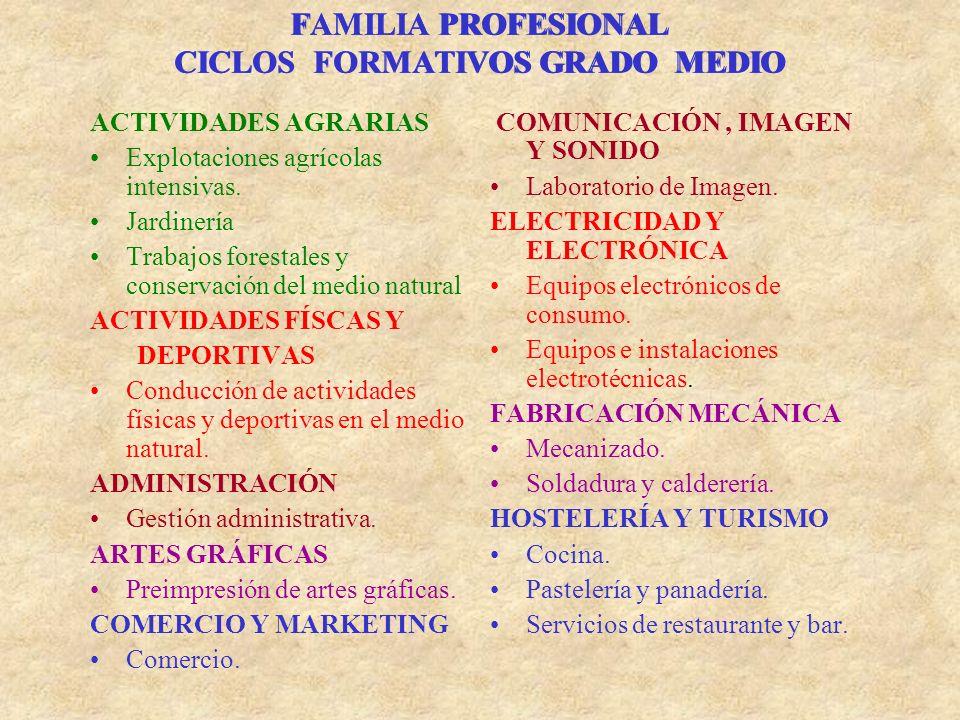FAMILIA PROFESIONAL CICLOS FORMATIVOS GRADO MEDIO ACTIVIDADES AGRARIAS Explotaciones agrícolas intensivas.