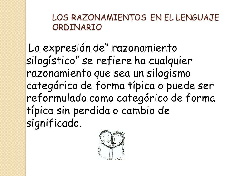 LOS RAZONAMIENTOS EN EL LENGUAJE ORDINARIO La expresión de razonamiento silogístico se refiere ha cualquier razonamiento que sea un silogismo categóri