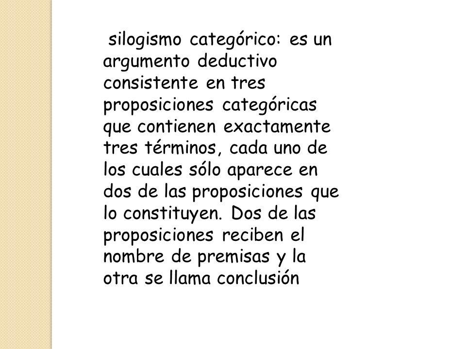 silogismo categórico: es un argumento deductivo consistente en tres proposiciones categóricas que contienen exactamente tres términos, cada uno de los