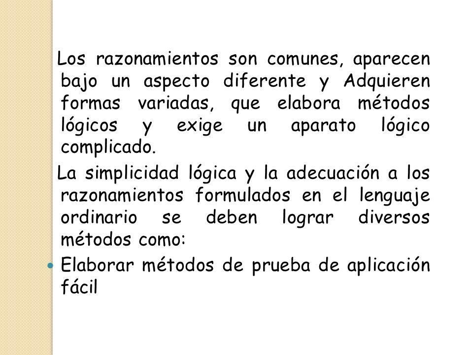 Los razonamientos son comunes, aparecen bajo un aspecto diferente y Adquieren formas variadas, que elabora métodos lógicos y exige un aparato lógico c