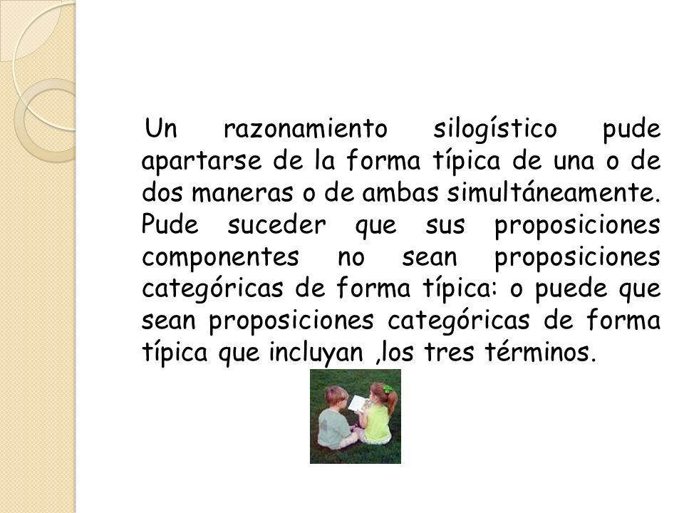 Un razonamiento silogístico pude apartarse de la forma típica de una o de dos maneras o de ambas simultáneamente. Pude suceder que sus proposiciones c