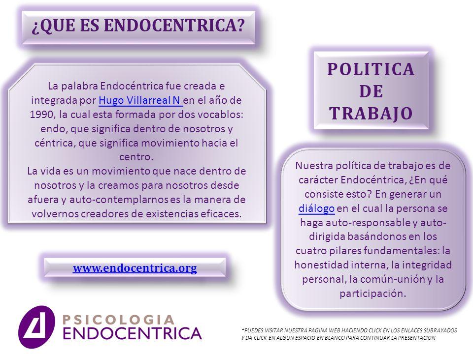 ¿QUE ES ENDOCENTRICA? La palabra Endocéntrica fue creada e integrada por Hugo Villarreal N en el año de 1990, la cual esta formada por dos vocablos: e