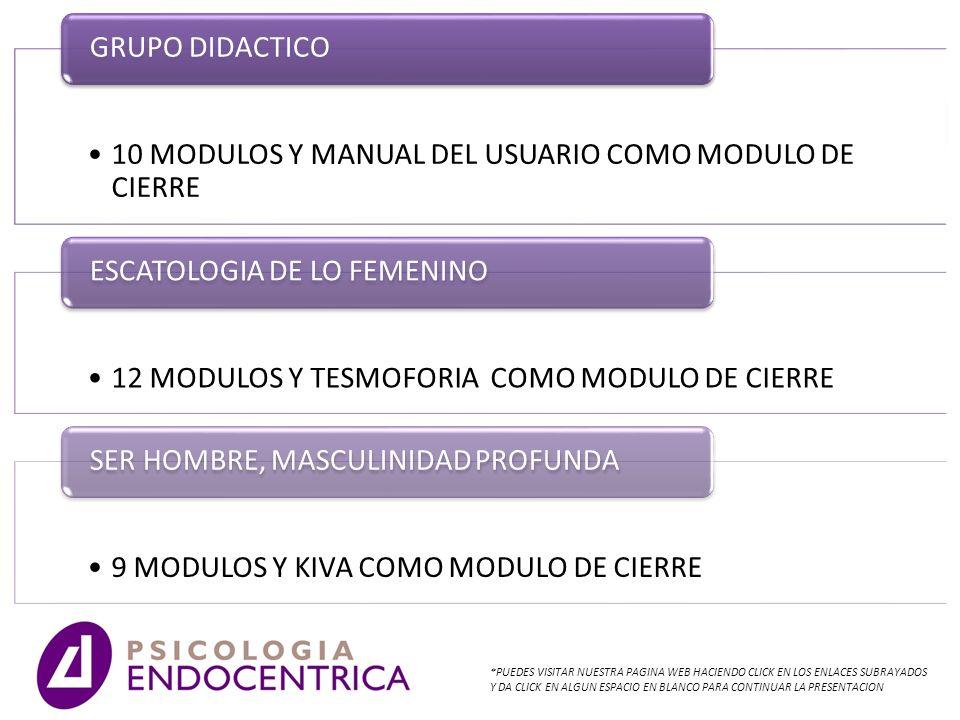 10 MODULOS Y MANUAL DEL USUARIO COMO MODULO DE CIERRE GRUPO DIDACTICO 12 MODULOS Y TESMOFORIA COMO MODULO DE CIERRE ESCATOLOGIA DE LO FEMENINO 9 MODUL