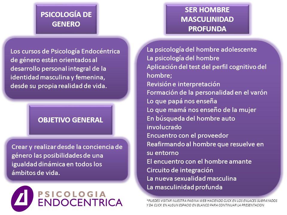 PSICOLOGÍA DE GENERO Los cursos de Psicología Endocéntrica de género están orientados al desarrollo personal integral de la identidad masculina y feme