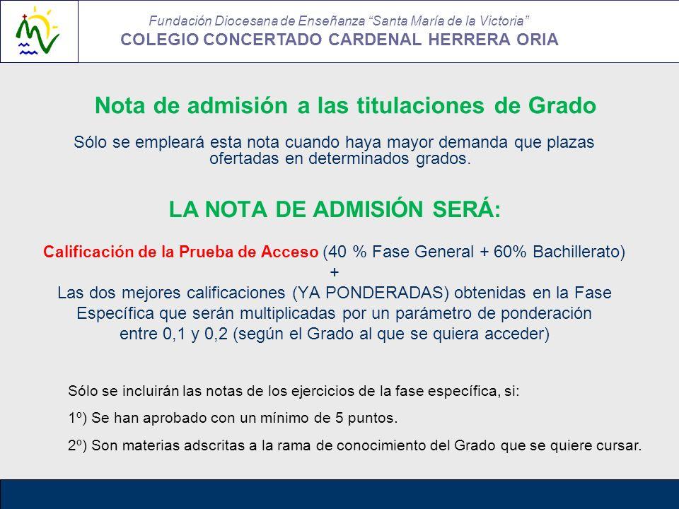 Nota de admisión a las titulaciones de Grado Sólo se empleará esta nota cuando haya mayor demanda que plazas ofertadas en determinados grados. LA NOTA