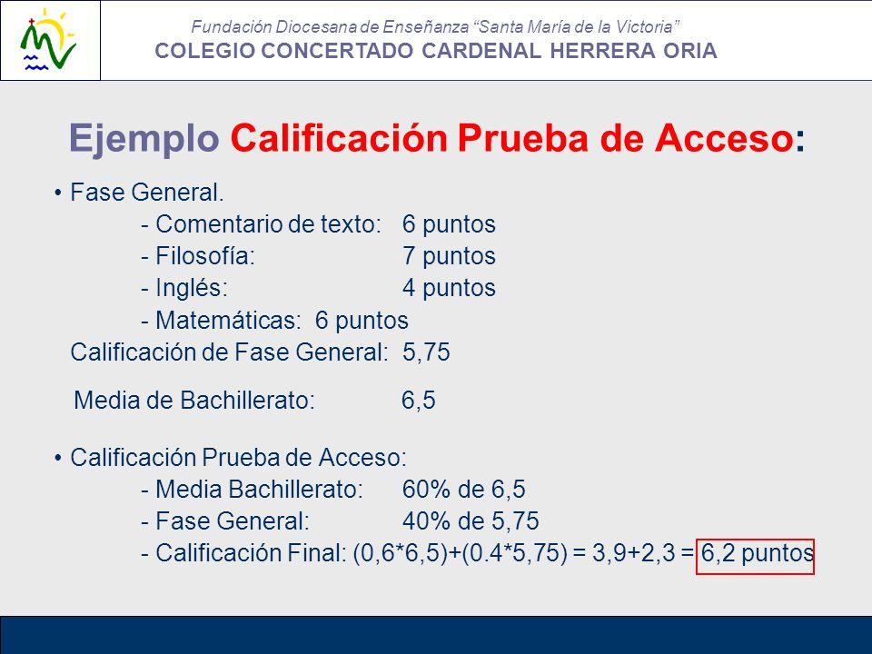 Ejemplo Calificación Prueba de Acceso: Fase General. - Comentario de texto:6 puntos - Filosofía:7 puntos - Inglés:4 puntos - Matemáticas:6 puntos Cali