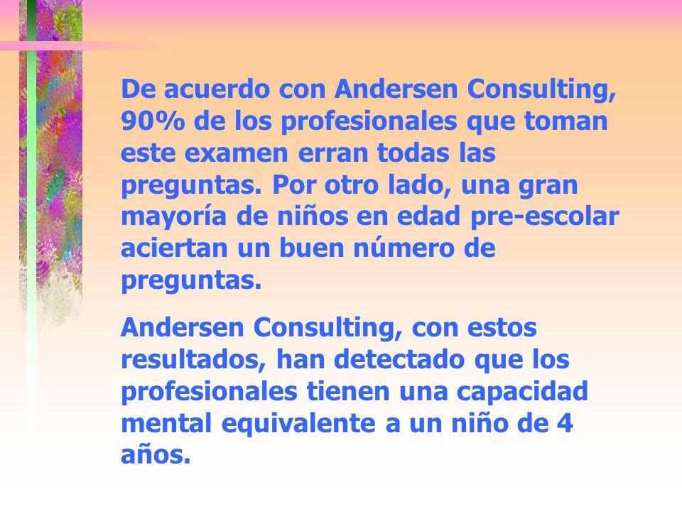 De acuerdo con Andersen Consulting, 90% de los profesionales que toman este examen erran todas las preguntas. Por otro lado, una gran mayoría de niños