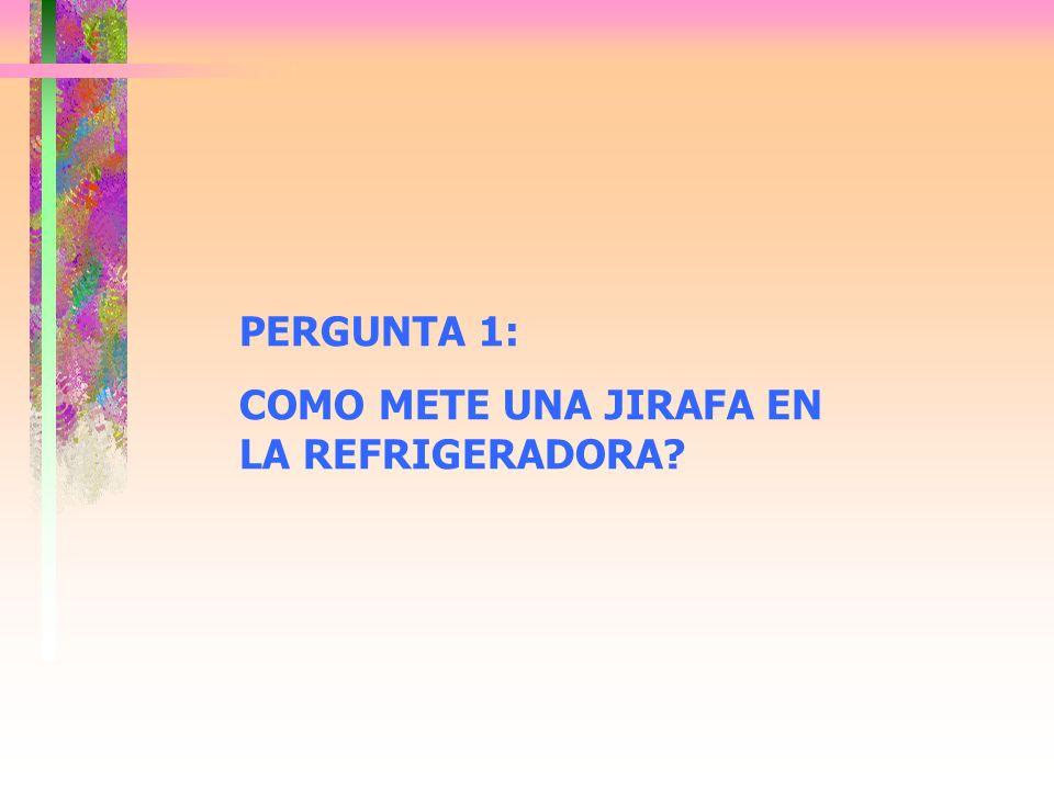 PERGUNTA 1: COMO METE UNA JIRAFA EN LA REFRIGERADORA?