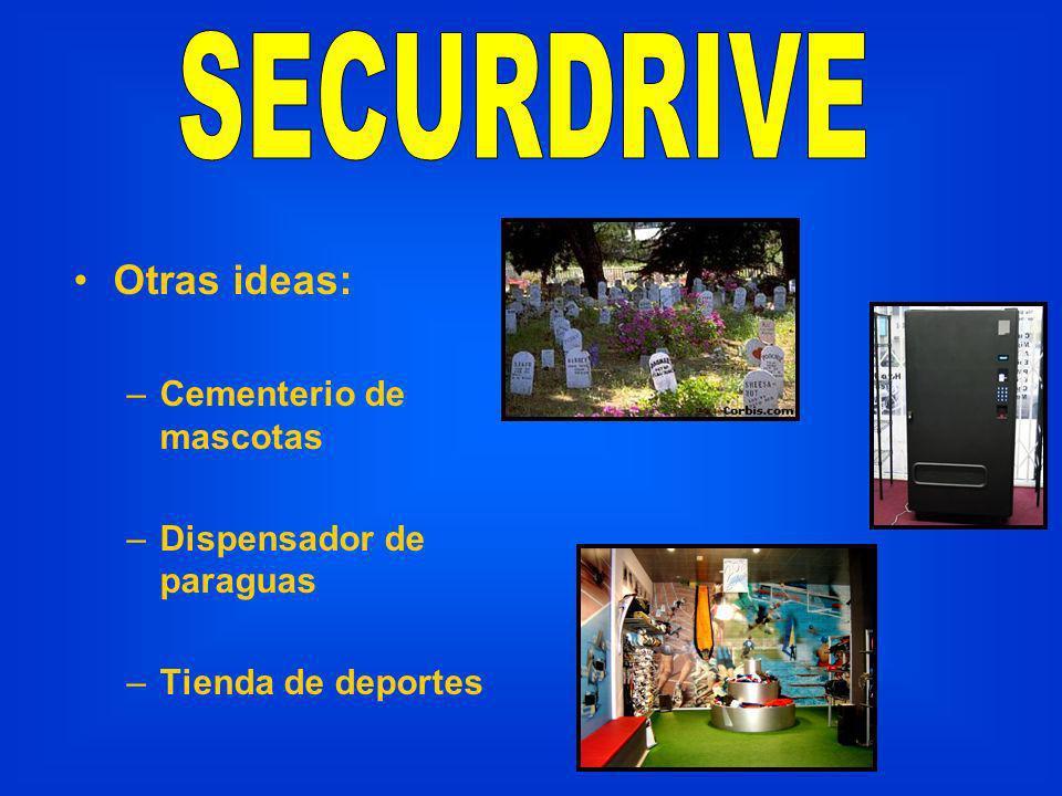 Otras ideas: –Cementerio de mascotas –Dispensador de paraguas –Tienda de deportes