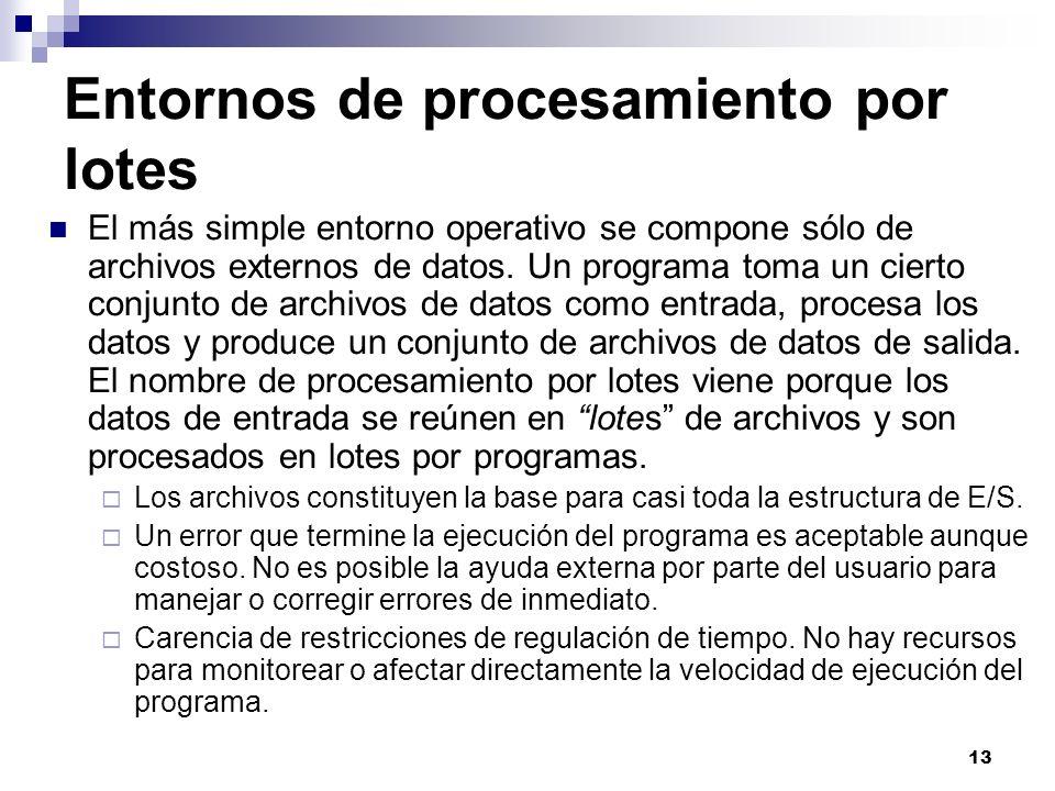 13 Entornos de procesamiento por lotes El más simple entorno operativo se compone sólo de archivos externos de datos. Un programa toma un cierto conju