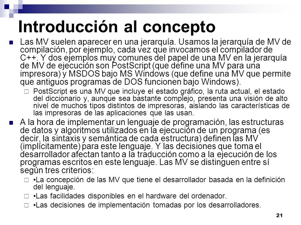 21 Introducción al concepto Las MV suelen aparecer en una jerarquía. Usamos la jerarquía de MV de compilación, por ejemplo, cada vez que invocamos el