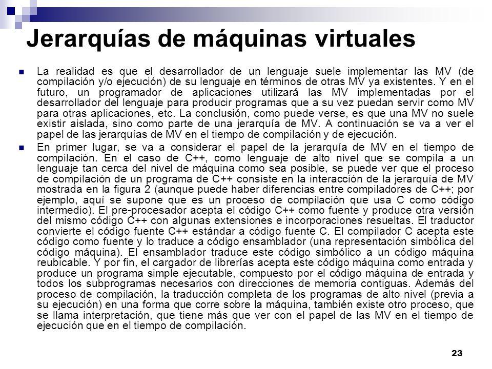 23 Jerarquías de máquinas virtuales La realidad es que el desarrollador de un lenguaje suele implementar las MV (de compilación y/o ejecución) de su lenguaje en términos de otras MV ya existentes.