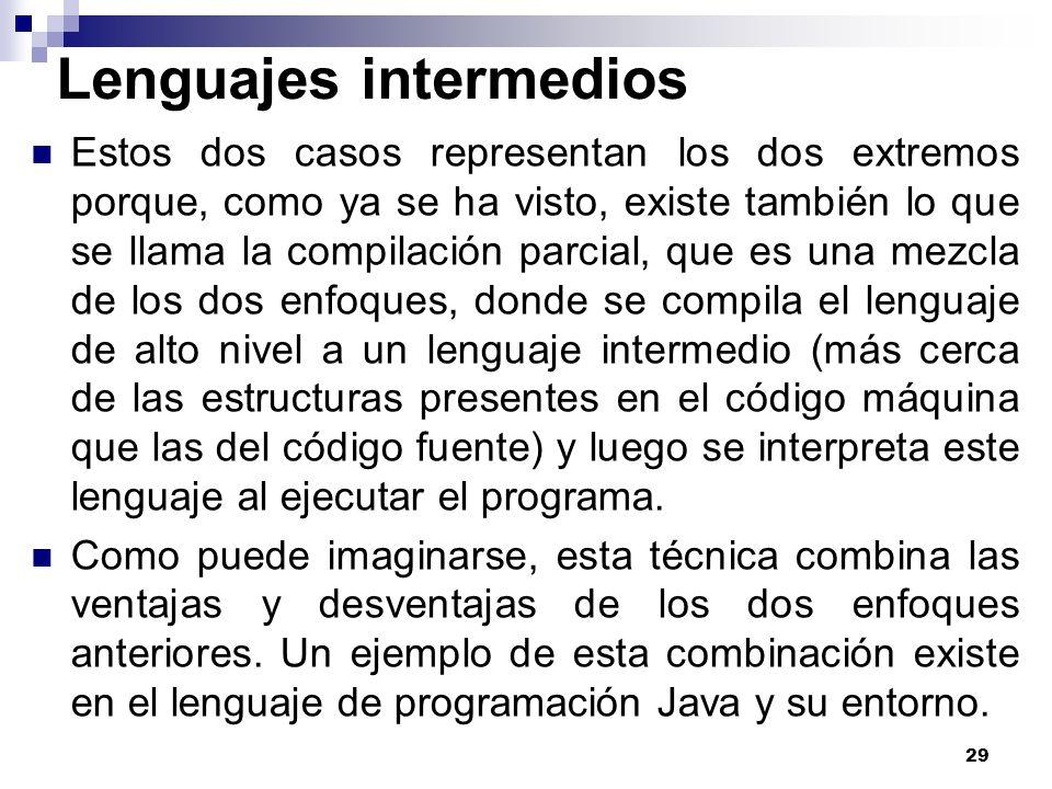 29 Lenguajes intermedios Estos dos casos representan los dos extremos porque, como ya se ha visto, existe también lo que se llama la compilación parci