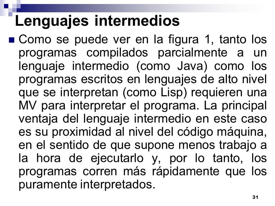 31 Lenguajes intermedios Como se puede ver en la figura 1, tanto los programas compilados parcialmente a un lenguaje intermedio (como Java) como los programas escritos en lenguajes de alto nivel que se interpretan (como Lisp) requieren una MV para interpretar el programa.