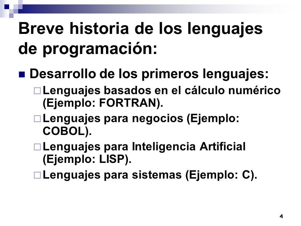 4 Breve historia de los lenguajes de programación: Desarrollo de los primeros lenguajes: Lenguajes basados en el cálculo numérico (Ejemplo: FORTRAN).