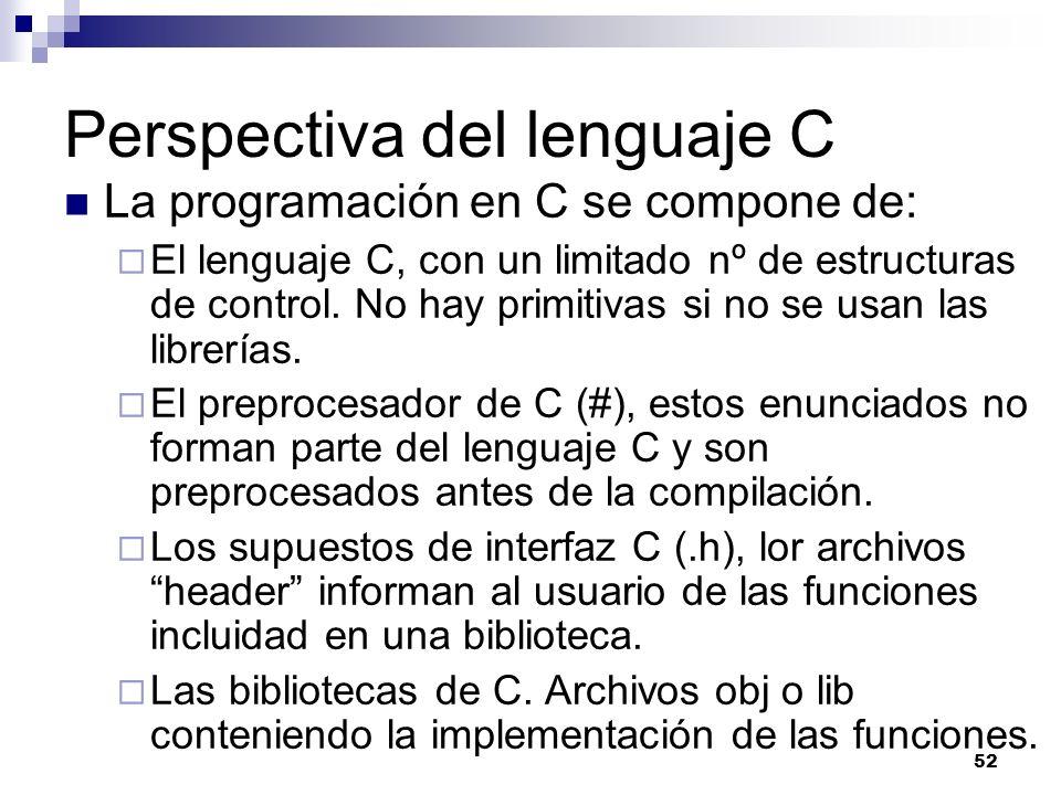 52 Perspectiva del lenguaje C La programación en C se compone de: El lenguaje C, con un limitado nº de estructuras de control. No hay primitivas si no