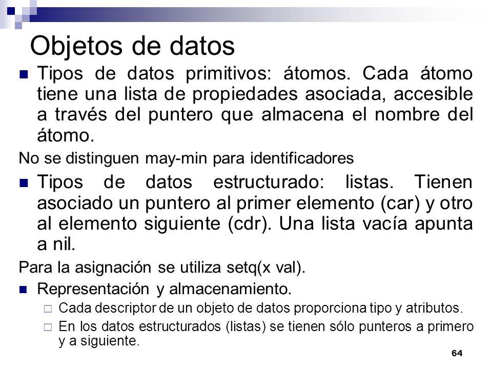 64 Objetos de datos Tipos de datos primitivos: átomos. Cada átomo tiene una lista de propiedades asociada, accesible a través del puntero que almacena