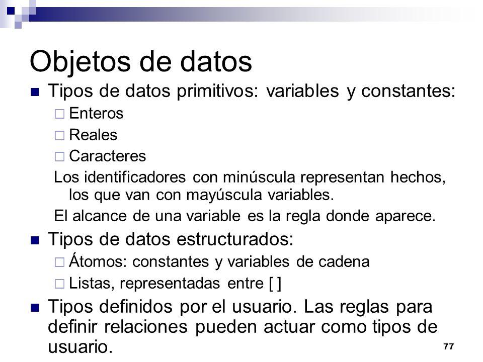 77 Objetos de datos Tipos de datos primitivos: variables y constantes: Enteros Reales Caracteres Los identificadores con minúscula representan hechos, los que van con mayúscula variables.