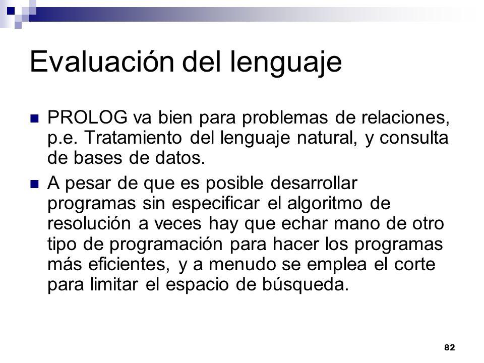 82 Evaluación del lenguaje PROLOG va bien para problemas de relaciones, p.e. Tratamiento del lenguaje natural, y consulta de bases de datos. A pesar d