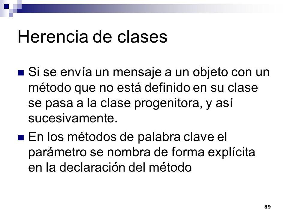 89 Herencia de clases Si se envía un mensaje a un objeto con un método que no está definido en su clase se pasa a la clase progenitora, y así sucesivamente.