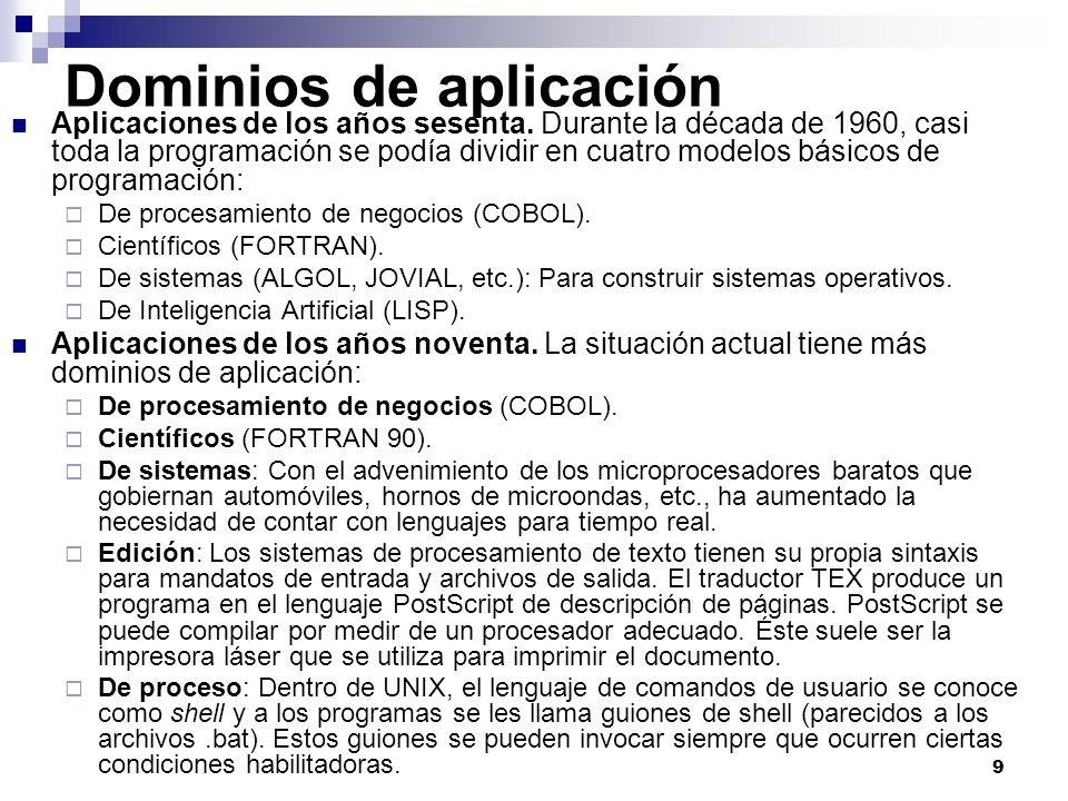 9 Dominios de aplicación Aplicaciones de los años sesenta. Durante la década de 1960, casi toda la programación se podía dividir en cuatro modelos bás