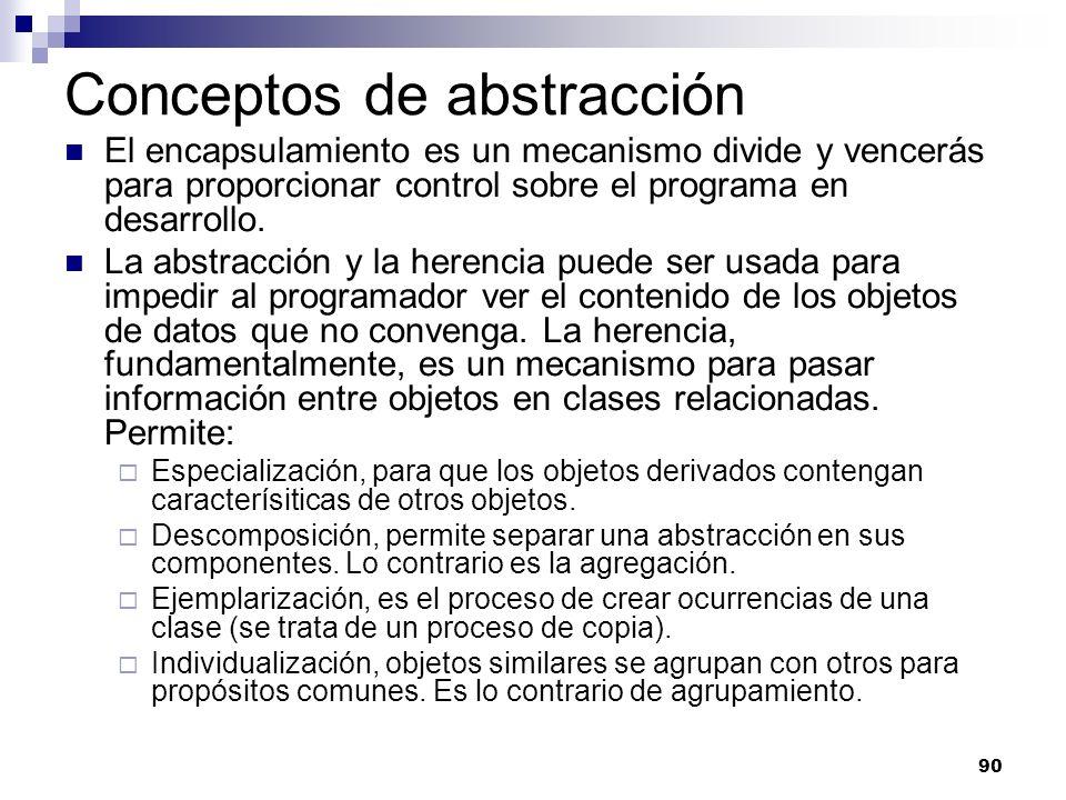 90 Conceptos de abstracción El encapsulamiento es un mecanismo divide y vencerás para proporcionar control sobre el programa en desarrollo. La abstrac