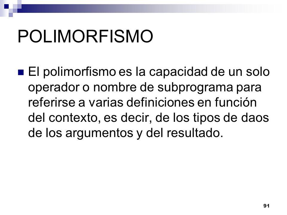 91 POLIMORFISMO El polimorfismo es la capacidad de un solo operador o nombre de subprograma para referirse a varias definiciones en función del contexto, es decir, de los tipos de daos de los argumentos y del resultado.