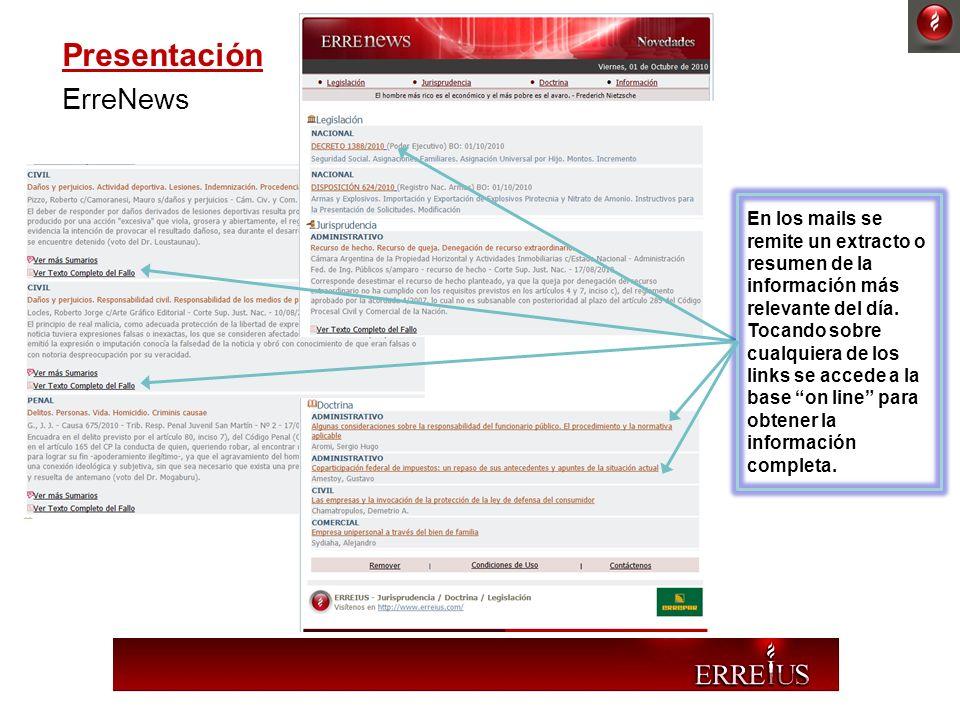 Presentación ErreNews En los mails se remite un extracto o resumen de la información más relevante del día. Tocando sobre cualquiera de los links se a