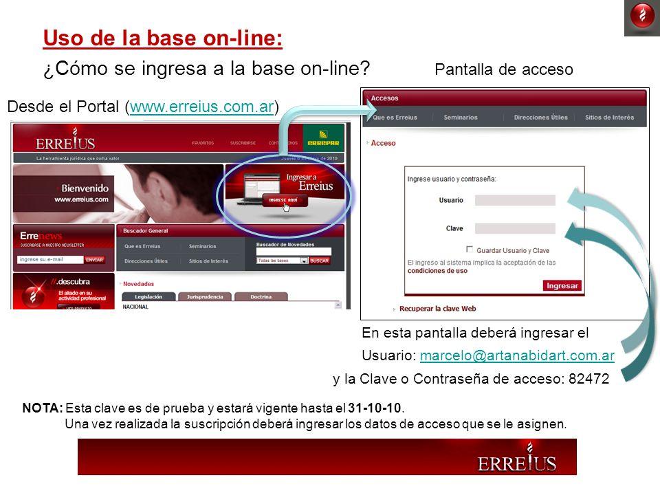 Uso de la base on-line: Desde el Portal (www.erreius.com.ar)www.erreius.com.ar ¿Cómo se ingresa a la base on-line? Pantalla de acceso En esta pantalla