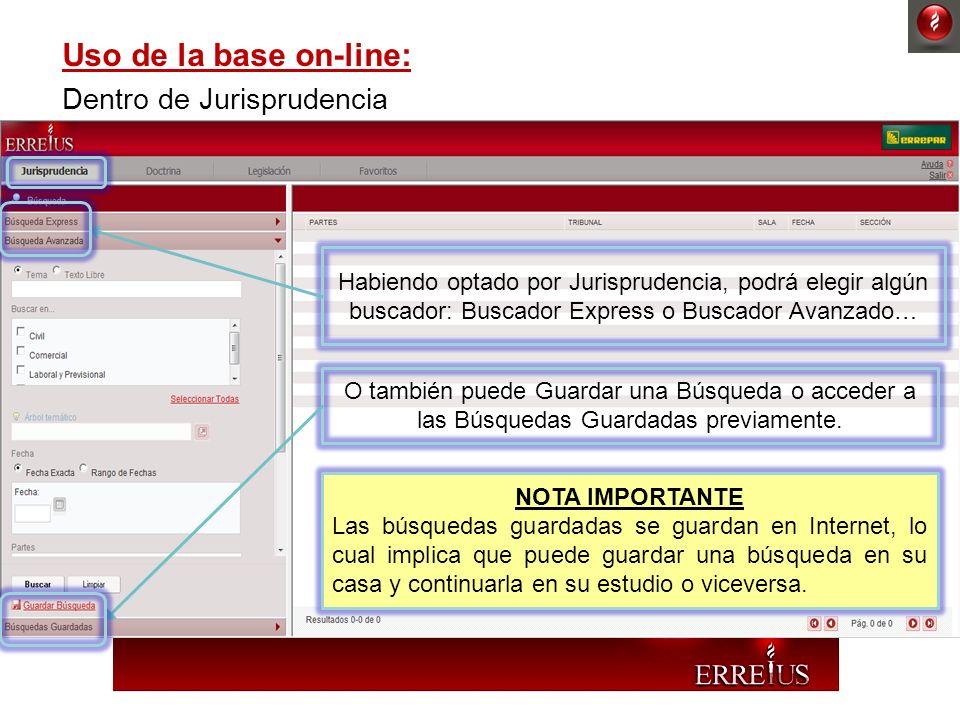 Uso de la base on-line: Dentro de Jurisprudencia Habiendo optado por Jurisprudencia, podrá elegir algún buscador: Buscador Express o Buscador Avanzado