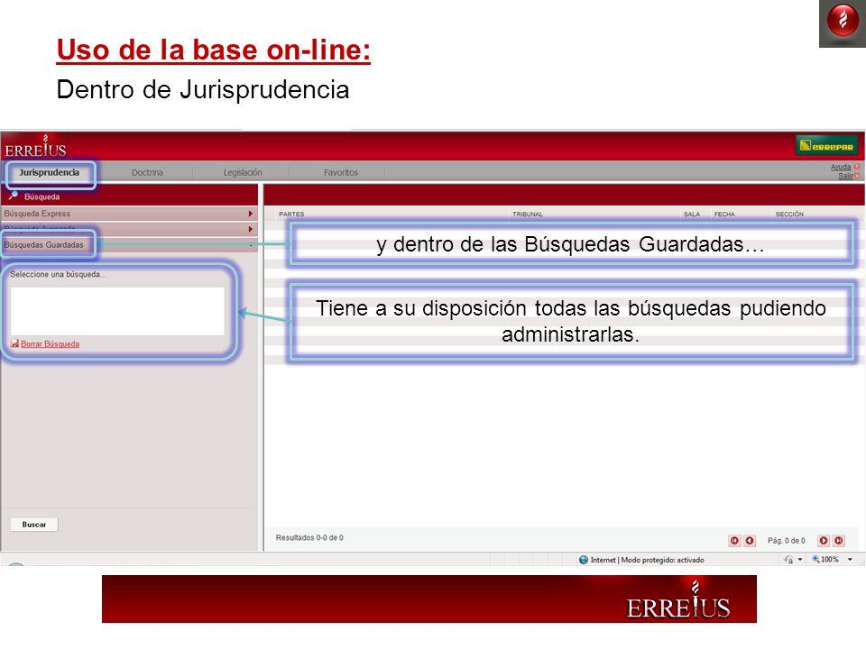 Uso de la base on-line: Dentro de Jurisprudencia y dentro de las Búsquedas Guardadas… Tiene a su disposición todas las búsquedas pudiendo administrarl